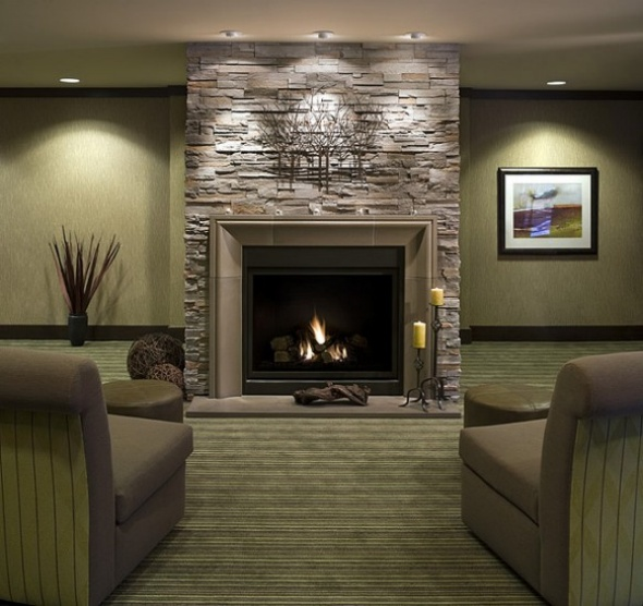 modern fireplace design for brick living room